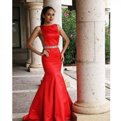 Red Satin Floor-length Crystals Bea..