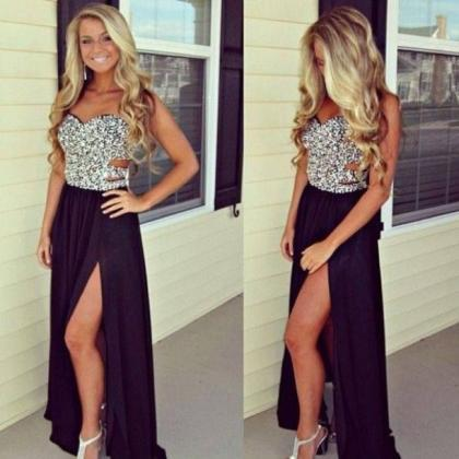 Black Sweetheart Prom Dresses, Sexy..