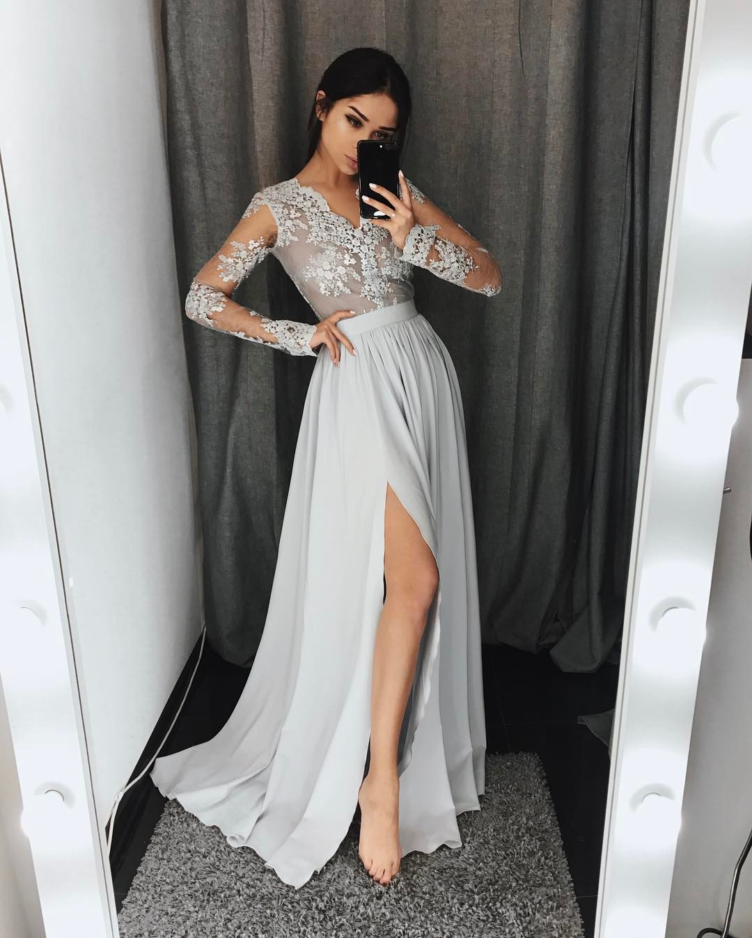 Long Sleeves Prom Dresses V Neck Grey Chiffon Party Dresses High ...
