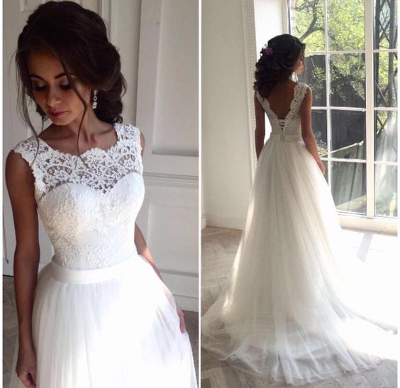 e5d89441f0d03 White Wedding Dress,Tulle Lace Bridal Gowns,Long A-line Wedding Dress,Women Wedding  Dress,Wedding Dress Long,Wedding Dress for Women,Cheap Wedding Dress
