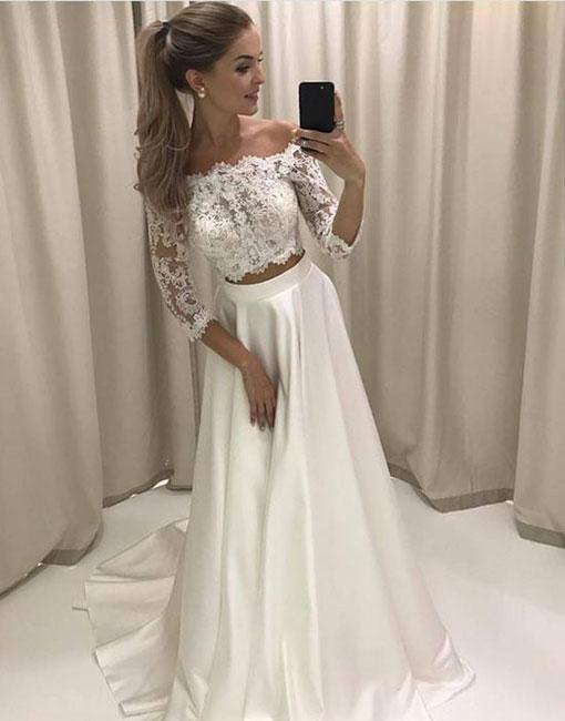 7b4bd640608c White Satin Lace Top Two Piece Prom Dresses Long A-line Off the Shoulder  Evening Dresses with 3/4 Sleeves Sexy Formal Gowns Party Graduation Dress  for Teens ...