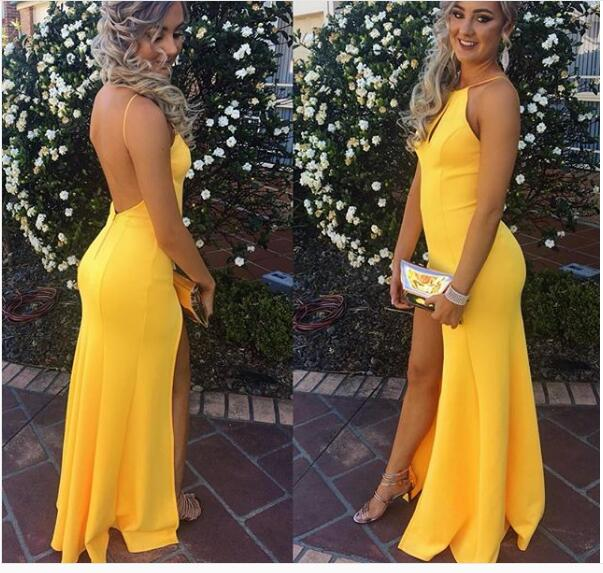 Yellow Satin Prom Dresses Long Mermaid Evening Dresses Halter Formal ...