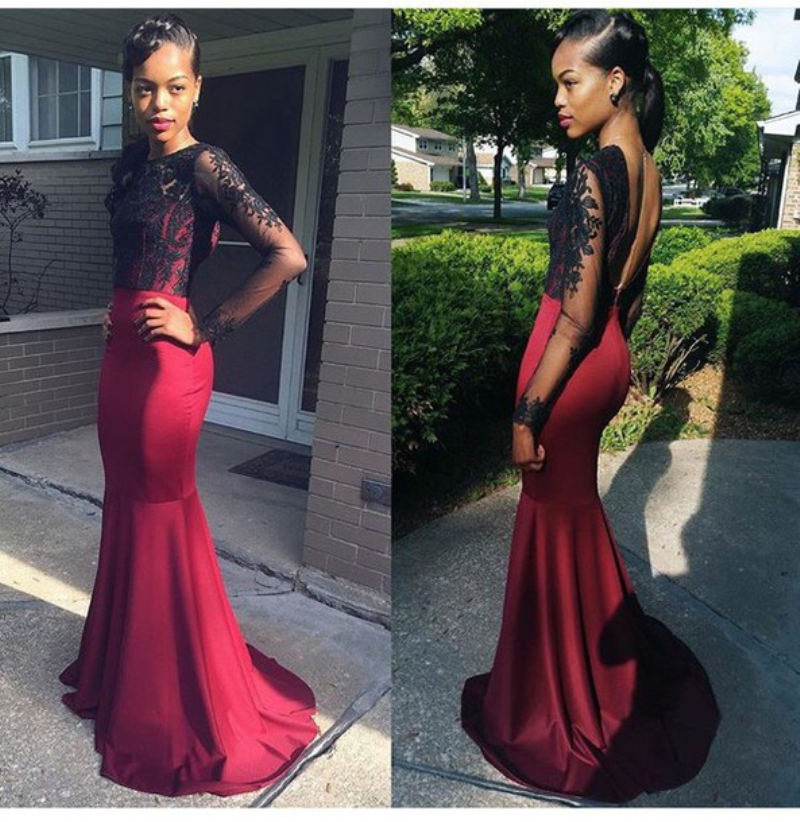 Sexy Burgundy Long Sleeve Mermaid Prom Dresses With Black Lace Top