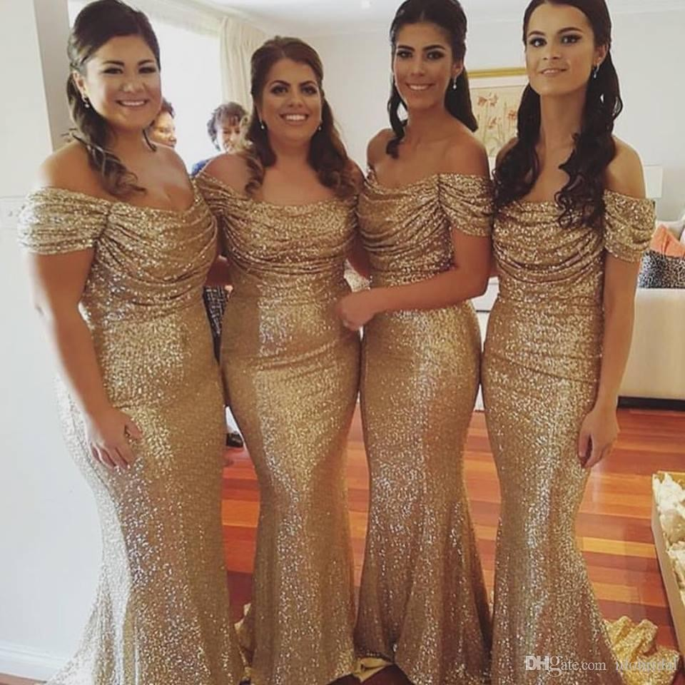 f9d48e231d0b Gold Sequin Bridesmaid Dresses Mermaid Prom Dresses Floor Length Evening  Dresses Special Occasion Vestidos de Noviva Festa Off the Shoulder Prom  Dresses ...