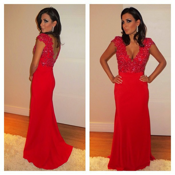 Long Evening Dresses,Red Prom Dresses,V Neck Prom Dresses,Cap Sleeve ...