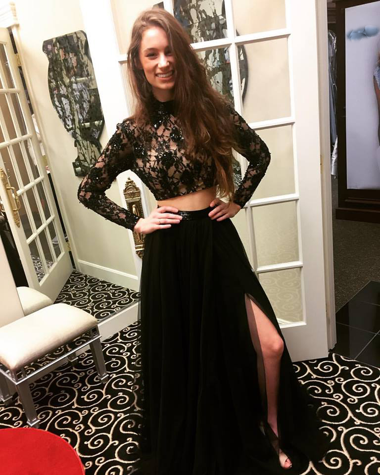 Two Pieces Prom Dress,Black Prom Dress,High Slit Evening Dress,Long ...