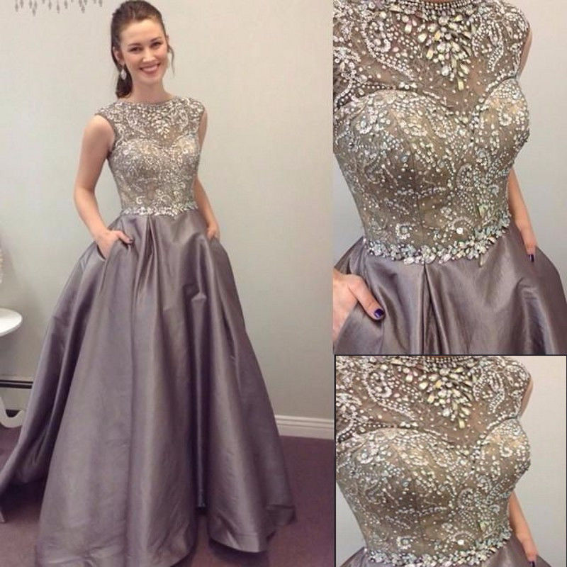 1da1d921bae Long Grey Satin Prom Dresses