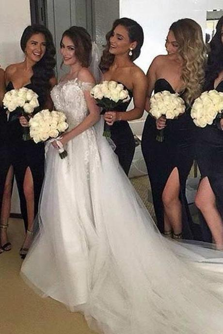 Bridesmaid Dresses,Sweetheart Bridesmaid Dresses,Bridesmaid Dresses with Slit,Black Chiffon Bridesmaid Dresses,Bridesmaid Dresses for Women,Bridesmaid Dresses Plus Size,Bridesmaid Dresses Custom,Sexy Wedding Party Gowns