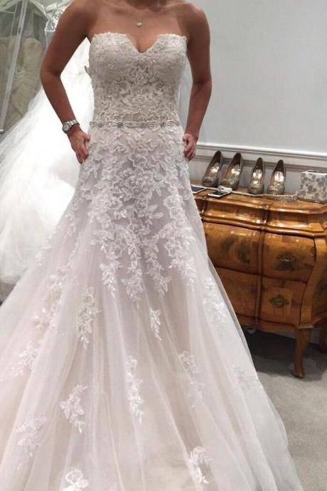 White/Ivory Long A-line Wedding Dresses Strapless Appliques Bridal Dresses with Long Train