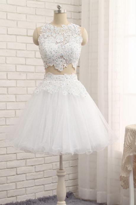 Homecoming Dress,Sexy Two Pieces White Cocktail Dress ,Tulle Lace Cocktail Sleeveless Dress