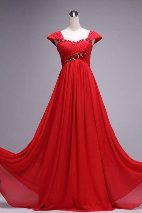Charming Red Floor Length Party Dresses, Chiffon Prom Dresses, A-line Prom Dresses,Evening Dress