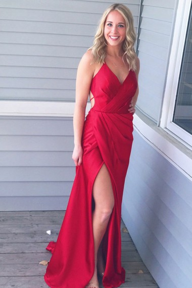 A-line Red Satin Prom Dresses Long Sexy Evening Dresses Backless Formal Pageant Gowns Sexy High Slit Party Dresses Graduation Gowns Criss Back Pageant Dress