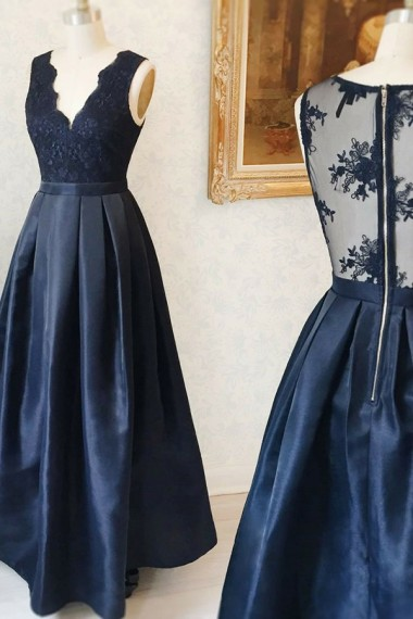 A-line Navy Satin Prom Dresses Long Sexy Evening Dresses V Neck Formal Pageant Gowns Sexy Party Dresses with Appliques