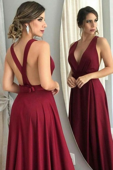 A-Line Deep V-Neck Prom Dresses Long Burgundy Backless Evening Formal Dress with Bowknot Party Graduation Dresses for Teens Girls