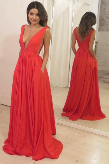 A-line Orange Red Prom Dresses Long Sexy Evening Dresses Deep V Neck Formal Pageant Gowns Sexy Party Graduation Dresses with Pockets for Teens Girls