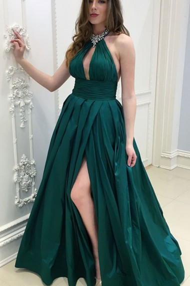 Dark Green Satin Keyhole Prom Dresses Long A-line Evening Formal Dress Beaded Halter High Slit Party Graduation Dresses for Women