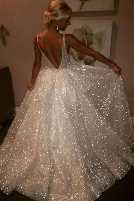 White Prom Dresses Long A-line Backless Evening Formal Dress V Neck Party Graduation Dresses with Sequin for Women