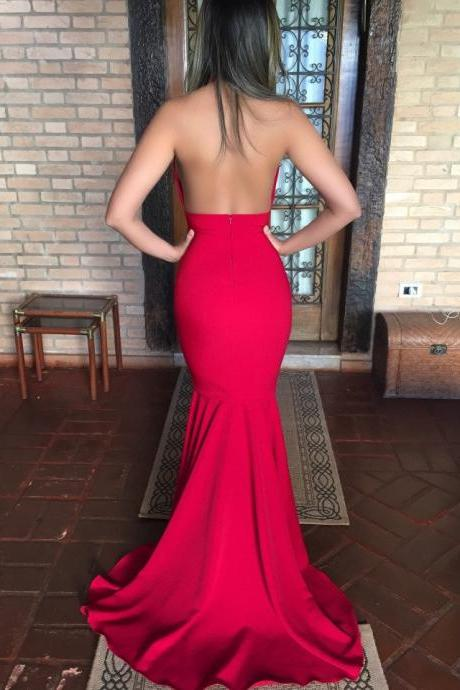 Red Satin Mermaid Prom Dresses Halter Long Backless Evening Formal Dress Sexy Party Graduation Dresses for Women