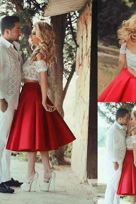 Red Prom Dress, Satin Prom Dress, Two Pieces Prom Dresses, Formal Dresses Tea Length Prom Dress