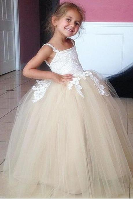 e9148879720 Champagne Long Flower Girls Dresses For Weddings Spaghetti straps Ball  Gowns Vintage Girl Party Prom Pageant