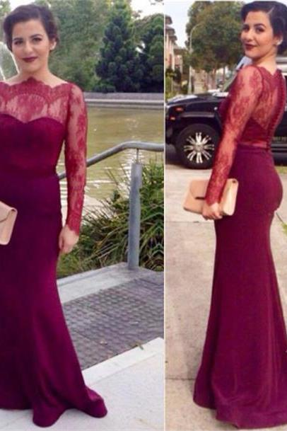 Prom Dress,Prom Dresses,Long Sleeves Prom Dresses,Mermaid Formal Gowns,Chiffon Prom Dresses, Prom Dress Long,Burgundy Prom Dresses,Prom Dresses 2016,Sexy Party Dress,Long Chiffon Prom Dresses