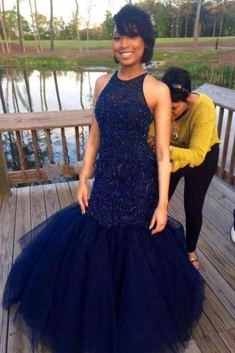 Prom Dress,Prom Dresses,Prom Dresses Beaded,Mermaid Prom Dresses,Mermaid Formal Gowns,Prom Dresses Navy Blue,Mermaid Party Gowns,Tulle Graduation Dresses,Prom Dresses Long,Navy Tulle Prom Dress,Sexy Prom Dresses,Prom Dresses 2016,Mermaid Formal Gowns,Prom Dresses Plus Size