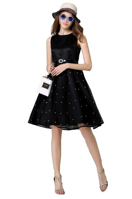 Black Short Spot Retro Hepburn Style Vintage Party Dress Sexy Pinup Swing Dress 1950s Cocktail Prom Formal Rockabilly Evening Dress,Short Vintage Dress with Sash