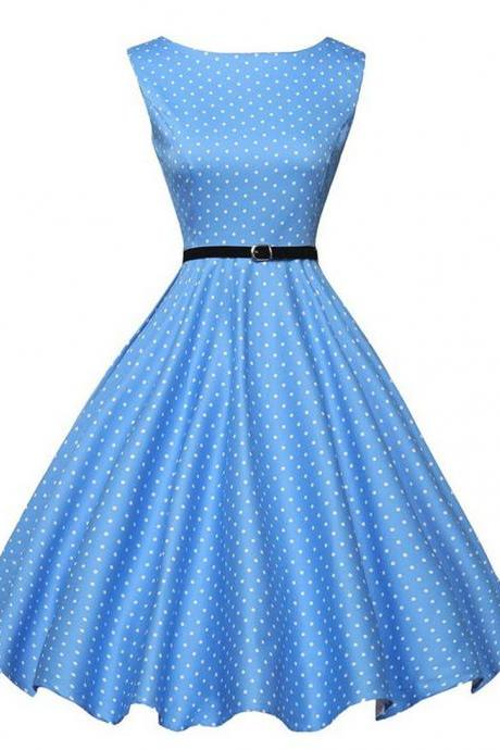 Cheap Sleeveless Polka Dot Retro Hepburn Style Vintage Party Dress Sexy Pinup Swing Dress 1950s Cocktail Prom Formal Rockabilly Evening Dress Short Prom Dresses with Sash