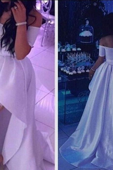 41a15528c5f7 White Off Shoulder High Low Prom Dresses Short Sleeves Evening Dresses Sexy  Party Pageant Dresses