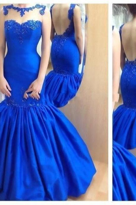 Sexy Backless Long Mermaid Prom Dress Illusion High Neck With Lace Appliques Royal Blue Pageant Prom Gowns Evening Formal Gowns Custom