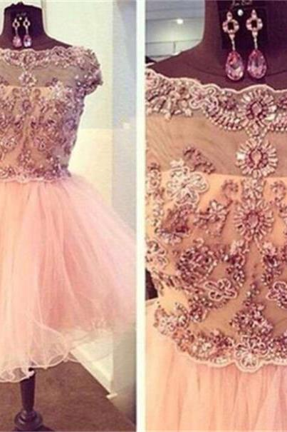 Pink Tulle Short Homecoming Dresses Beaded Party Dresses Open Back Cocktail Dresses Cap Sleeves Sexy Prom Dresses Graduation Dresses for Girls Plus Size