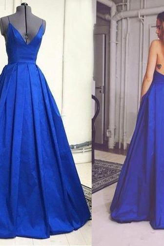 Long Royal Blue Spaghetti Strap Prom Dresses Satin A-line Formal Gowns Backless Evening Dresses Plus Size Sexy Party Cocktail Dresses