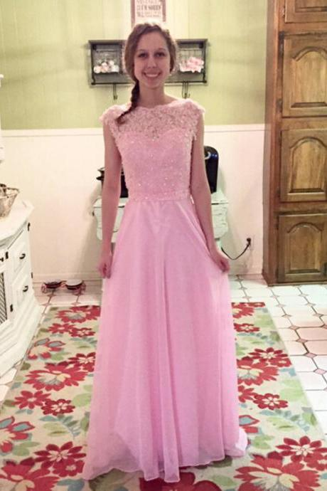 Prom Dress,Prom Dresses,A-line Prom Dresses,Chiffon Formal Gowns,Chiffon Prom Dresses Long, Prom Dress Long,Cap Sleeves Prom Dresses,Prom Dresses 2016,Sexy Party Dress,Long Chiffon Prom Dresses,Pink Prom Dresses,Prom Dresses 2016