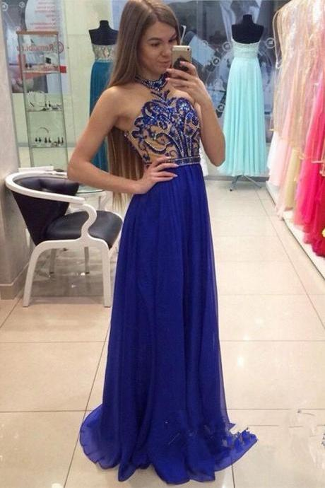 Prom Dresses,Prom Dress Long Chiffon,Halter Royal Blue Chiffon Beading Prom Dresses,Modest A-line Prom Dress,Pretty Prom Gown For Teens,Party Dresses Girls,Prom Dresses 2017 Long Sexy