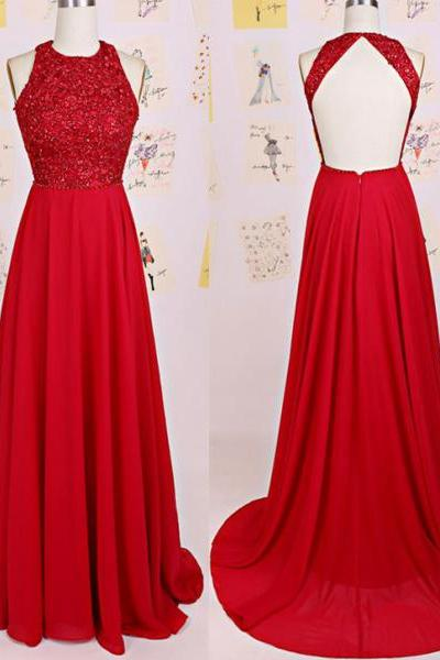 Prom Dresses,Charming Red Prom Dress,O-Neck Prom Dress,A-Line Prom Dress,Chiffon Prom Dress,Backless Evening Dress,Wedding Guest Prom Gowns, Formal Occasion Dresses,Formal Dress