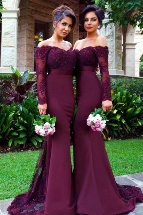 Bridesmaid Dresses,Mermaid Bridesmaid Dresses,Long Sleeve Bridesmaid Dress,Off Shoulder Bridesmaid Dresses,Sexy Wedding Party Gowns,Sexy Prom Dresses,Purple Bridesmaid Dress,Bridesmaid Dress Plus Size