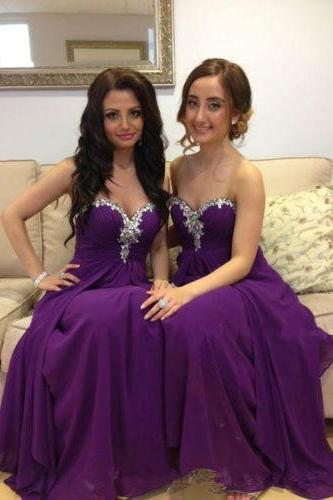 Bridesmaid Dresses Long Dress Chiffon Purple Beading