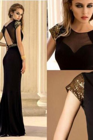 Prom Dress,Black Prom Dresses,Cap Sleeve Prom Dress,Cheap Prom Dresses,Mermaid Long Prom Dresses,Long Party Dresses,Women Evening Dresses,Open Back Prom Dress,Prom Dresses 2017,Long Women Dress