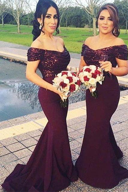 Off the Shoulder Bridesmaid Dresses,Long Mermaid Bridesmaid Dresses,Sequin Bridesmaid Dresses,Bridesmaid Dresses Plus Size,Long Mermaid Wedding Party Gowns