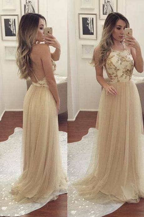 Long Champagne Tulle Prom Dresses,Backless A-line Prom Dresses,Formal Gowns with Beads,Women Evening Dress,Long Graduation Dress for Teens