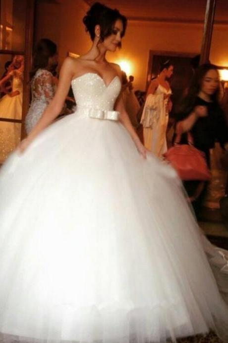 2017 Wedding Dress,Sweetheart Wedding Dress,Ball Gown Wedding Dress,Bowknot Wedding Dress,Tulle Wedding Dress,Women Wedding Dress,Long Bridal Gowns