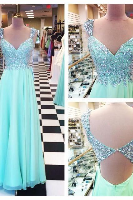 Mint Long Prom Dresses,Beading Evening Dresses,Backless Prom Gowns,Cap Sleeves Prom Dress,Princess Prom Dresses,Chiffon Evening Gowns,Sparkle Formal Dress