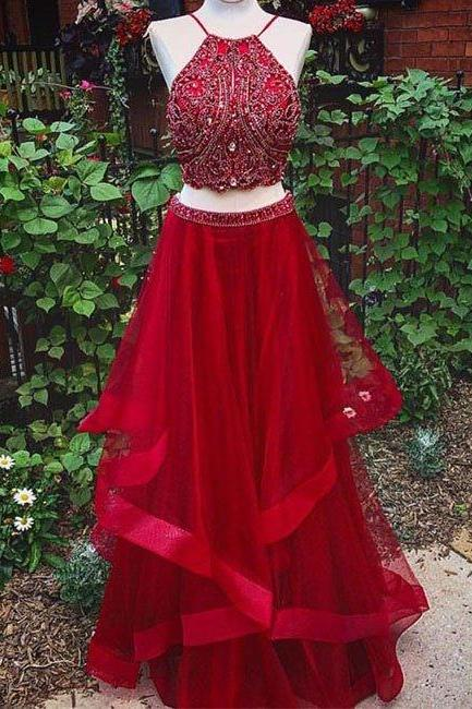 Two Pieces Prom Dresses,Backless Prom Dresses,Beaded Prom Dresses,Red Prom Dress,Long Prom Dresses,Long Party Dresses,Long Two Pieces Graduation Dress