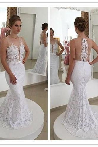2017 Long Lace Mermaid Wedding Dresses Sexy Bridal Gowns for Women