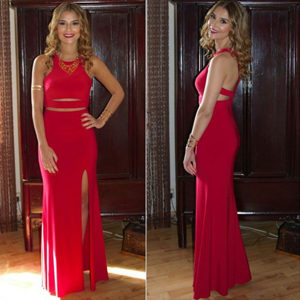Prom Dresses,Mermaid Prom Dresses,Red Chiffon Prom Dresses,High Slit Prom Dresses,Sexy Prom Dresses with Slit,Prom Dresses 2017 Long Sexy,Prom Dresses Long Mermaid,Women Evening Dresses,Sexy Formal Gowns