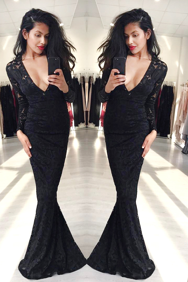 e37e74513f 10% OFF. Mermaid Black Formal Evening Gowns Long Sleeves Lace Deep V-neck  ...